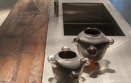 Stainless Steel counter with old wood bar top